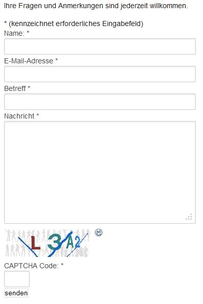 Einfache schriftliche Kontaktaufnahme durch das Kontaktformular